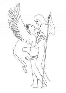 D'après Gustave Moreau, Oedipe et le Sphinx