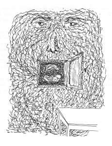 D'après un dessin de Magritte, Mur, masque et maison