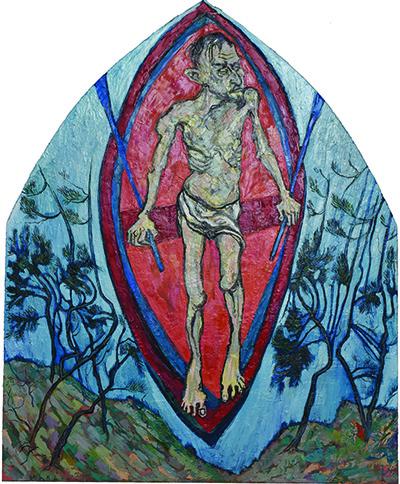 Tableau d'un homme sur une barque, au corps décharné comme après un temps de souffrance, nu, avec un simple périzonium. Ses mains, sur les rames, sont proches du corps, évoquant les descentes de croix. L'homme passe d'une rive à l'autre, comme dans le mythe ancien du Styx. La mer et le ciel se confondent. La barque a les contours d'une mandorle, le cadre traditionnel de la représentation du Christ en gloire.