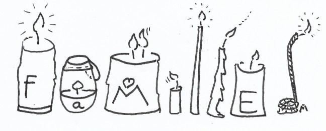 image bougies lumières famille. Dessin Marg. Champeaux-Rousselot, 2017