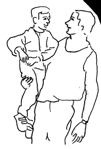 Père et enfant, pour illustrer l'article sur l'Autorité ; dessin de M. C.-R.