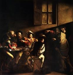 1559 vocation de Saint matthieu, par le Caravage. Il y a débat entre spécialistes pour savoir qui est Matthieu...