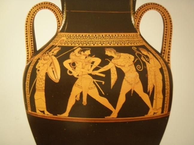-530-520 env. Lutte entre Héraklès et Apollon pour le trépied de Delphes, par le peintre d'Andocide. Musée de Berlin