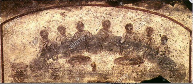 200-300 banquet fresque catacombes, Sainte Calixte